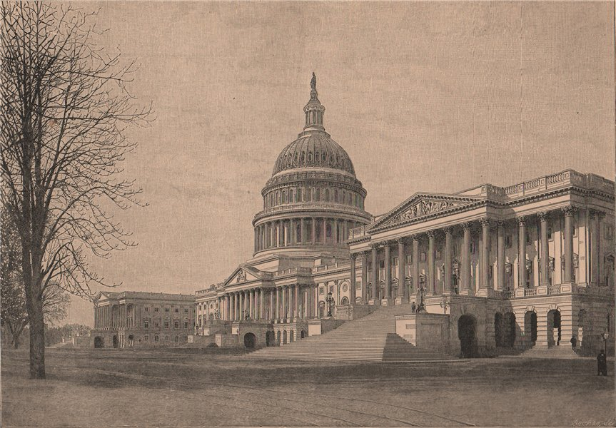 The Capitol, Washington, viewed from the East. Washington DC 1885 old print