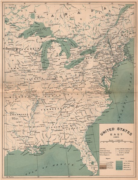Associate Product United States East 1892. USA 1885 old antique vintage map plan chart
