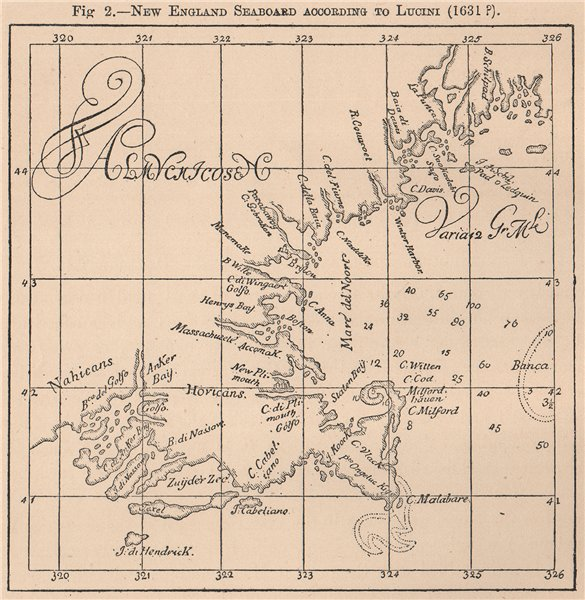 New England seaboard according to Lucini (1631?) . USA 1885 old antique map
