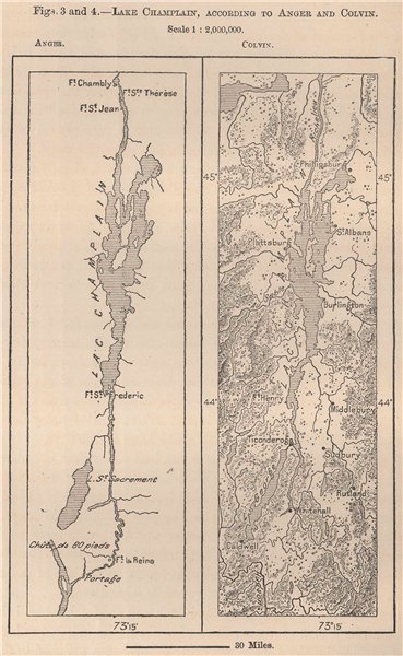 Associate Product Lake Champlain, according to Anger and Colvin. USA 1885 old antique map chart