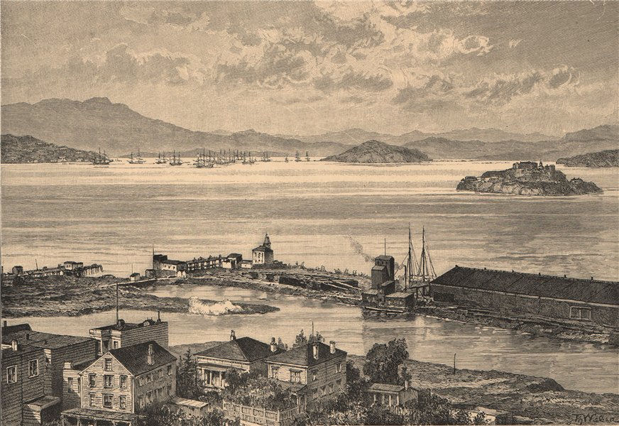 San Francisco Bay - View from the city. California 1885 old antique print
