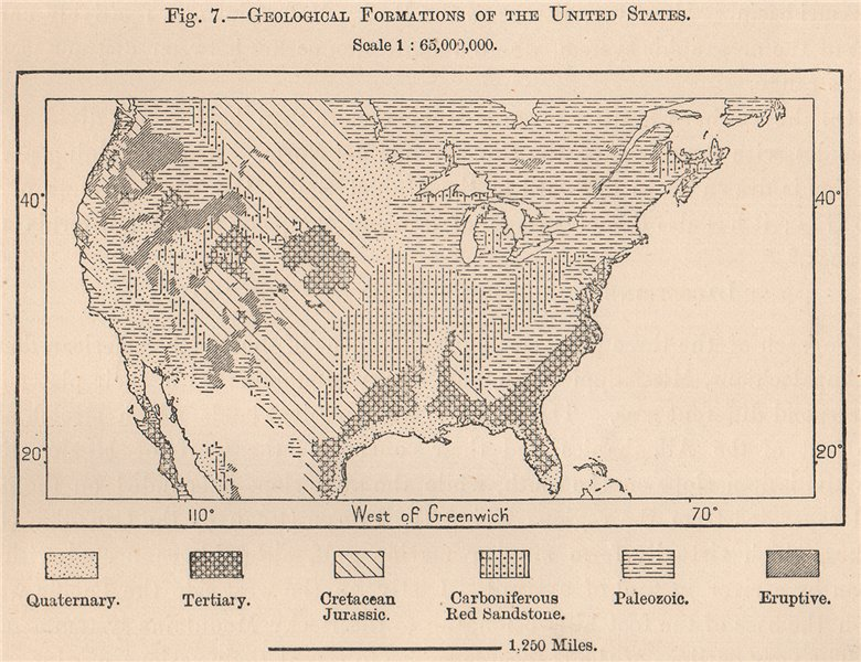 Associate Product Geological formations of the United States. USA 1885 old antique map chart