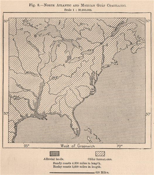 Associate Product North Atlantic and Gulf of Mexico Coastland. USA 1885 old antique map chart