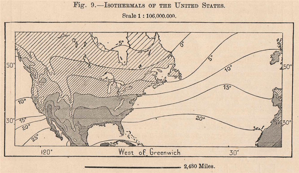 Associate Product Isothermals of the United States. USA 1885 old antique vintage map plan chart