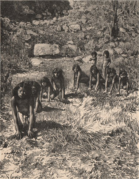 Associate Product The game of Wolf and Bear. USA. Native Americans 1885 old antique print