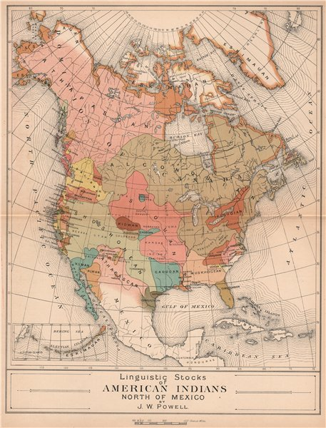 Details about Linguistic Stocks of Native American Indians. North America  1885 old map