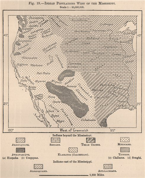 Associate Product Indian populations West of the Mississippi. USA. Native Americans 1885 old map