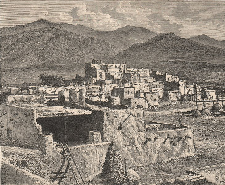 Associate Product Pueblo of Taos. New Mexico 1885 old antique vintage print picture