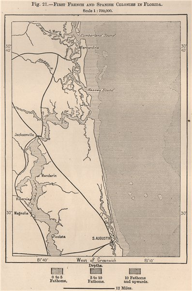 Associate Product First French and Spanish Colonies in Florida. St Augustine 1885 old map