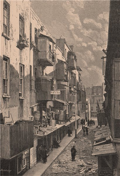 Associate Product A Street in the Chinese Quarter, San Francisco. California 1885 old print