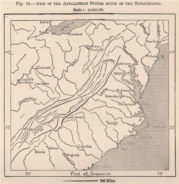 Associate Product Axis of the Appalachian System South of the Susquehanna. USA 1885 old map
