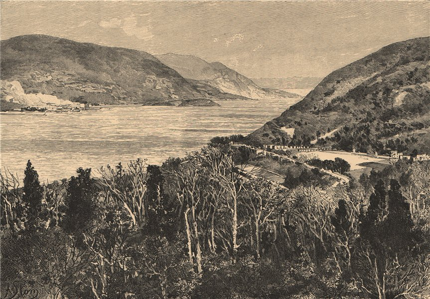 Associate Product West Point and the Hudson River. New York 1885 old antique print picture