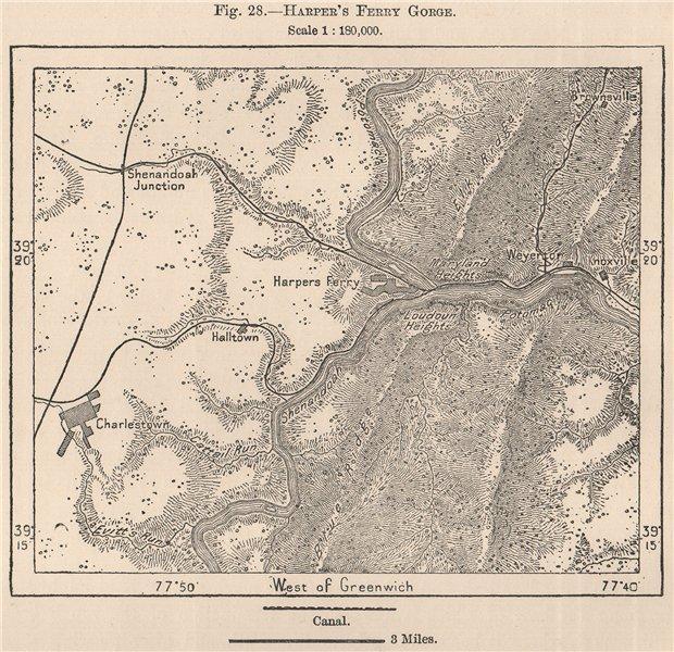 Associate Product Harper's Ferry Gorge. West Virginia 1885 old antique vintage map plan chart