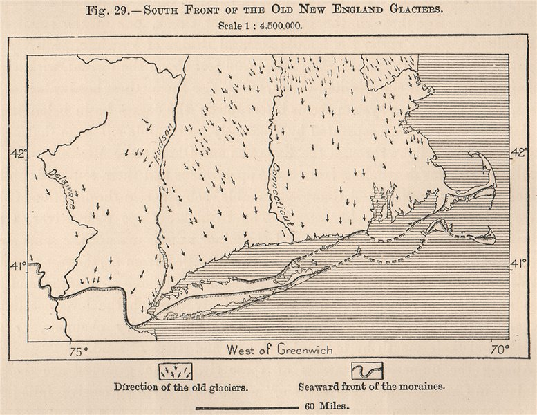 South front of the old New England Glaciers. USA 1885 antique map chart
