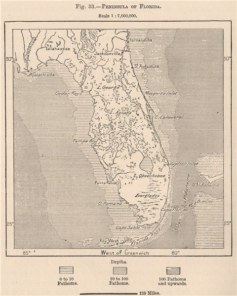 Associate Product Peninsula of Florida 1885 old antique vintage map plan chart