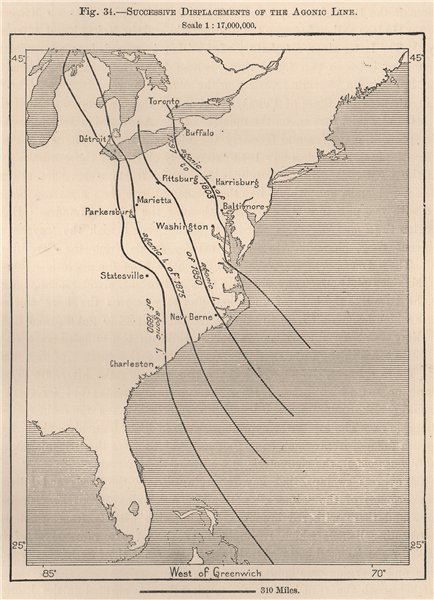 Associate Product Successive displacements of the Agonic Line. USA 1885 old antique map chart