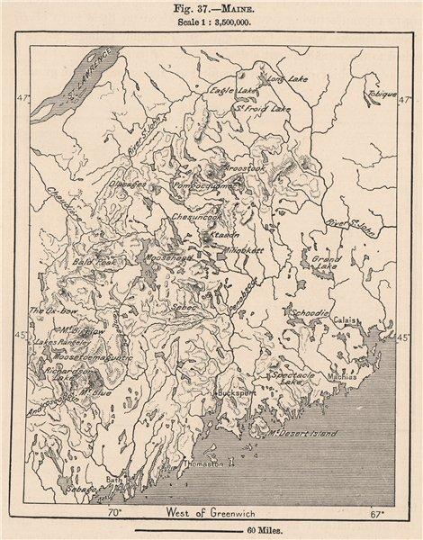 Associate Product Maine 1885 old antique vintage map plan chart