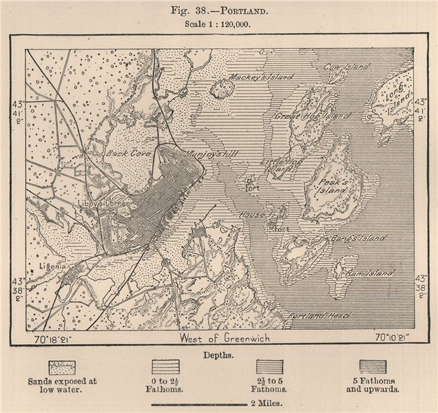 Associate Product Portland. Maine 1885 old antique vintage map plan chart