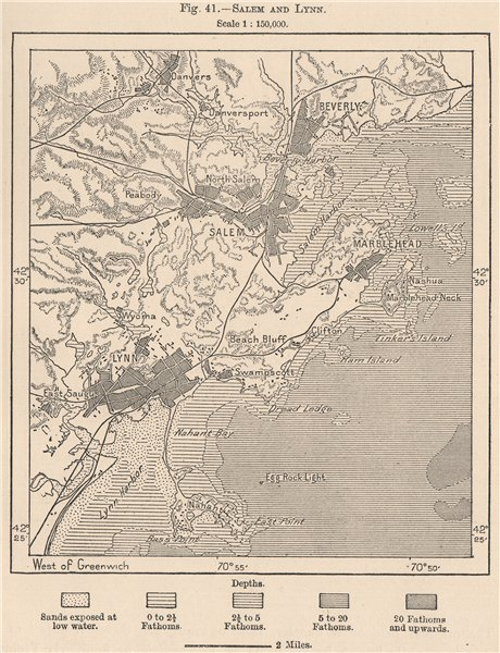 Associate Product Salem and Kings Lynn. Massachusetts 1885 old antique vintage map plan chart