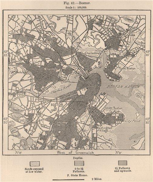 Associate Product Boston. Massachusetts 1885 old antique vintage map plan chart