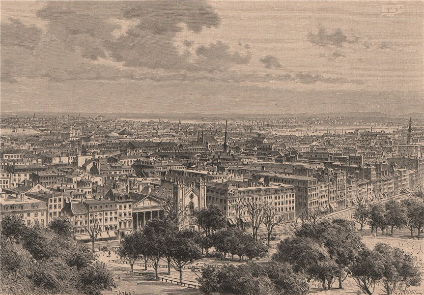 Associate Product General view of Boston, taken from the common. Massachusetts 1885 old print