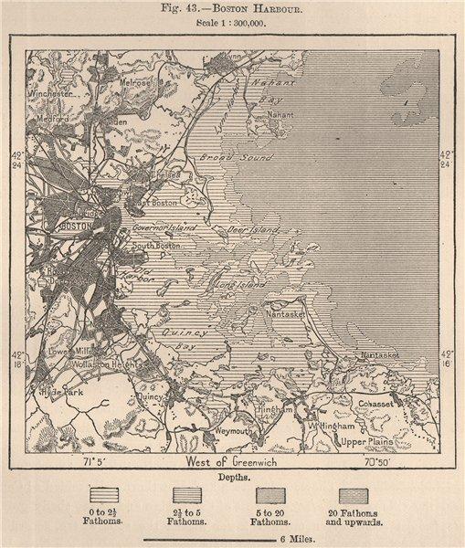 Associate Product Boston Harbour. Massachusetts 1885 old antique vintage map plan chart