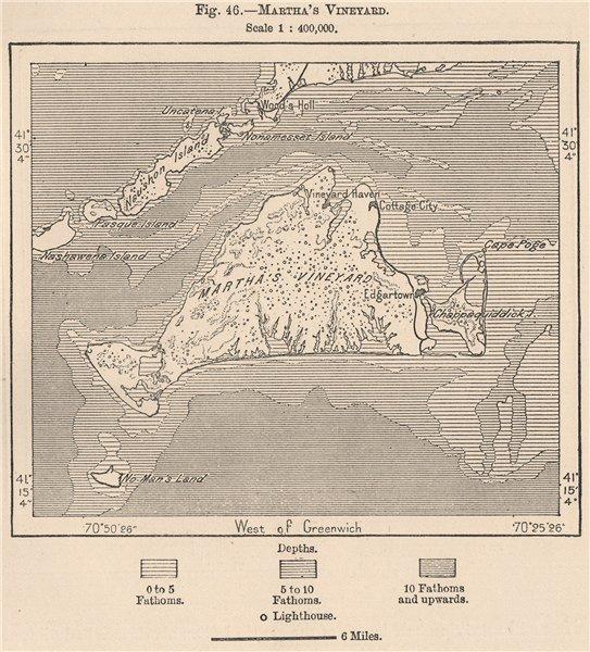 Associate Product Martha's Vineyard. Massachusetts 1885 old antique vintage map plan chart