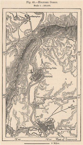 Associate Product Holyoke Gorge. Massachusetts 1885 old antique vintage map plan chart