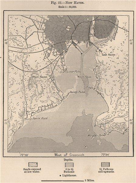 Associate Product New Haven. Connecticut 1885 old antique vintage map plan chart