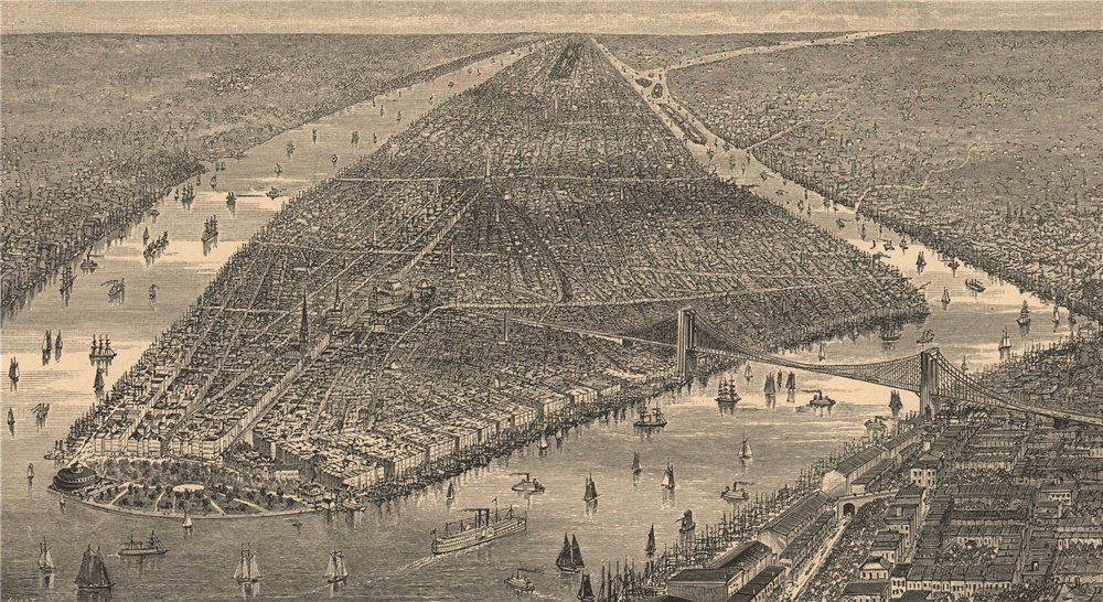 Associate Product General view of New York 1885 old antique vintage print picture
