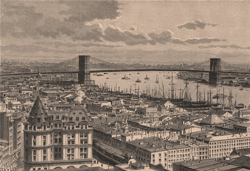 Associate Product Brooklyn Bridge, seen from New York 1885 old antique vintage print picture