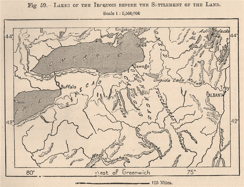 Associate Product Lakes of the Iroquois before the settlement of the Land. New York 1885 old map