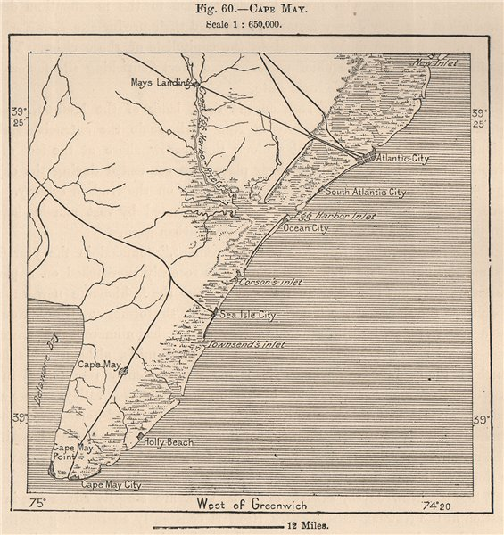 Associate Product Cape May. New Jersey 1885 old antique vintage map plan chart