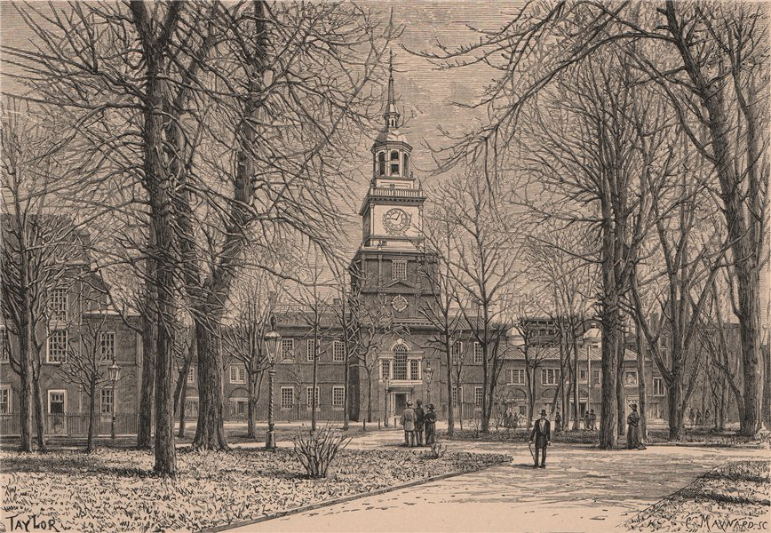 Associate Product Independence Hall, Philadelphia. Pennsylvania 1885 old antique print picture