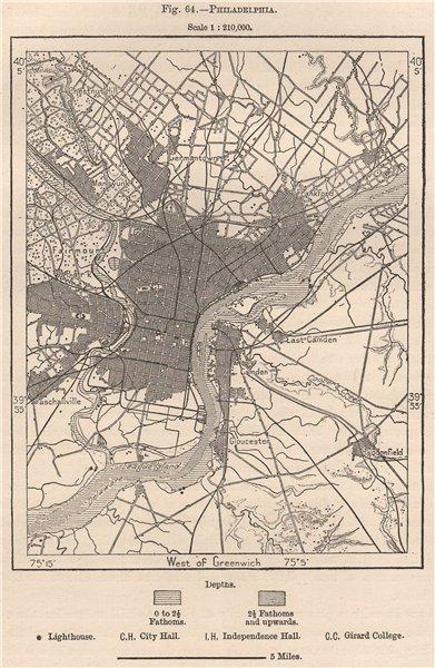 Associate Product Philadelphia. Pennsylvania 1885 old antique vintage map plan chart