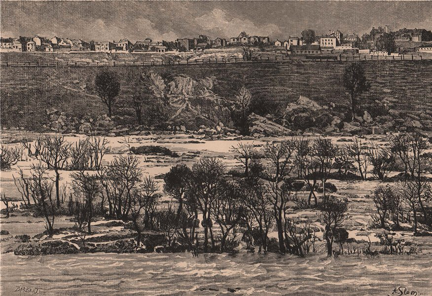 Associate Product Richmond - View taken at the James River Rapids. Virginia 1885 old print