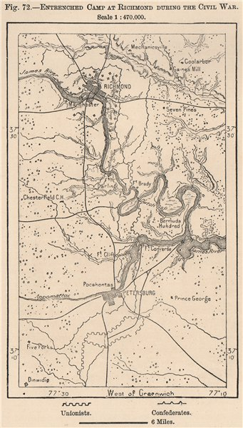 Associate Product Entrenched Camp at Richmond during the Civil war. Virginia 1885 old map