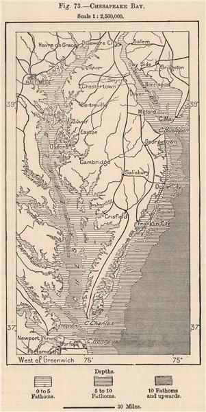 Associate Product Chesapeake Bay. USA 1885 old antique vintage map plan chart