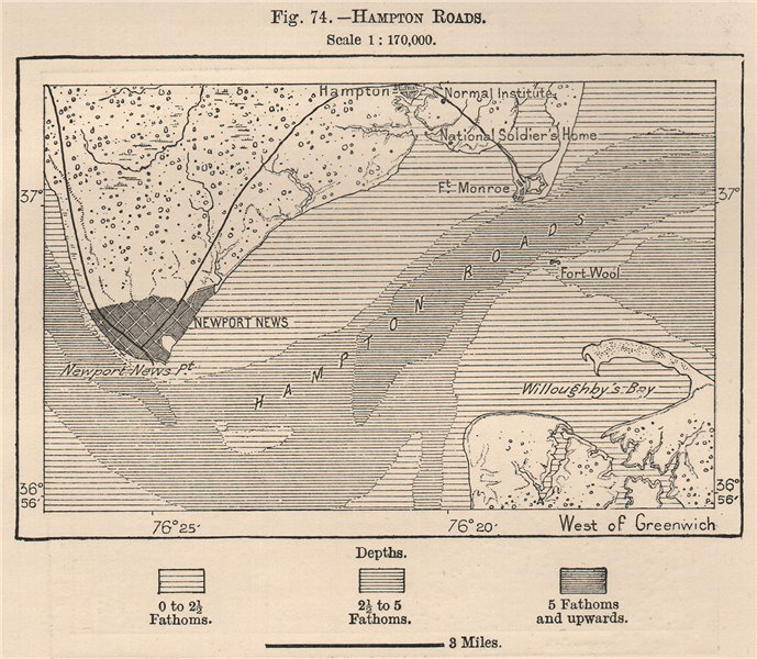 Associate Product Hampton Roads. Virginia 1885 old antique vintage map plan chart