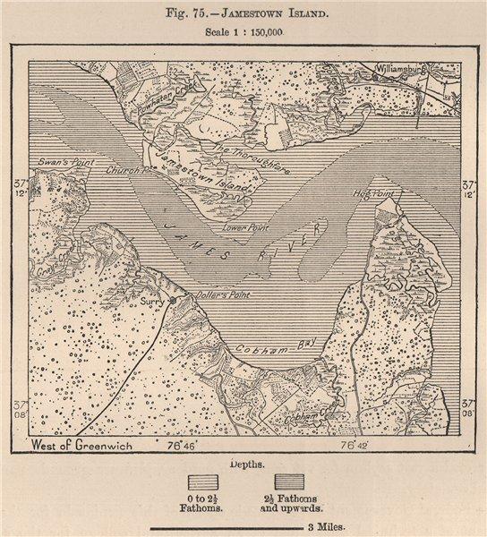 Associate Product Jamestown Island. Virginia 1885 old antique vintage map plan chart