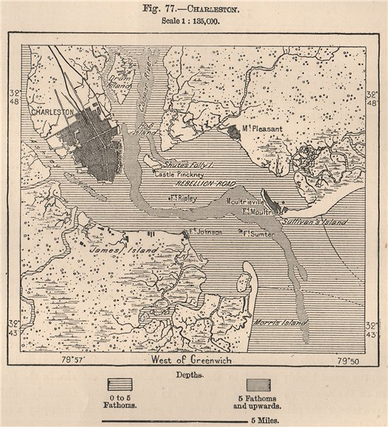 Associate Product Charleston. South Carolina 1885 old antique vintage map plan chart