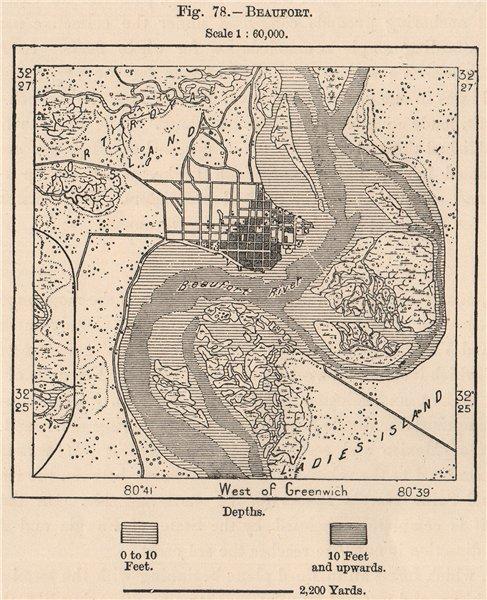 Associate Product Beaufort. South Carolina 1885 old antique vintage map plan chart