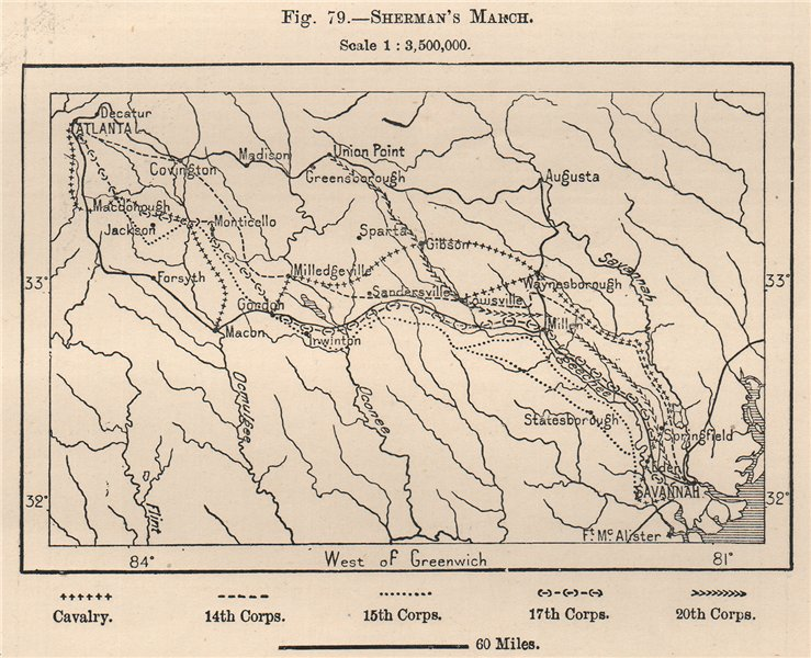 Associate Product Sherman's March. Georgia 1885 old antique vintage map plan chart