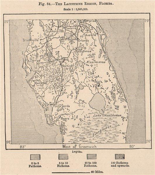 Associate Product The Lacustrine region, Florida. Everglades 1885 old antique map plan chart