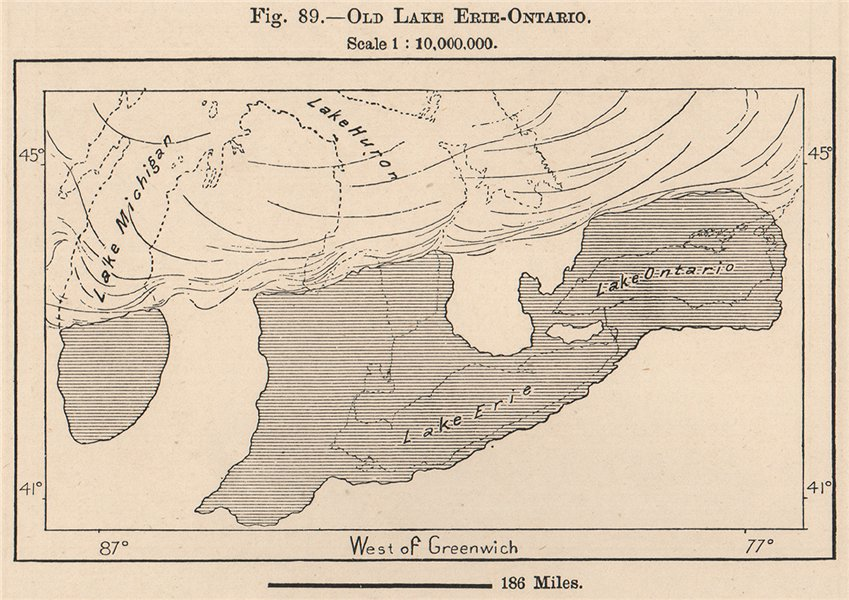 Associate Product Old Lake Erie - Ontario. North America 1885 antique vintage map plan chart