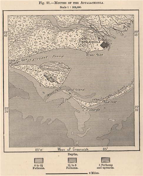 Mouths of the Appalachicola. Florida 1885 old antique vintage map plan chart