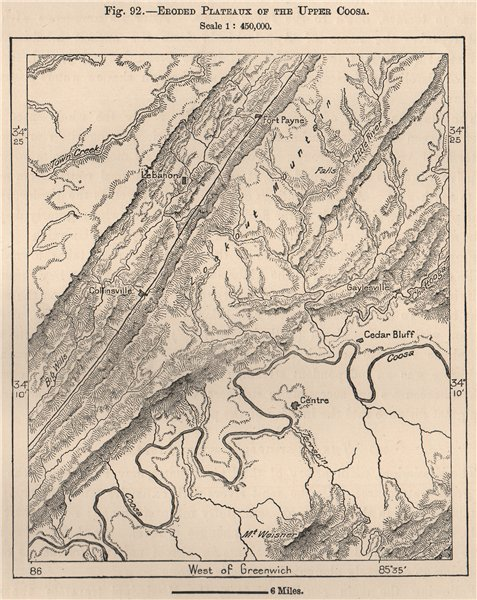 Associate Product Eroded Plateaux of the upper Coosa. Alabama 1885 old antique map plan chart