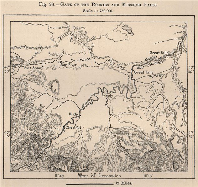 Associate Product Gate of the Rockies and Missouri Falls. Montana 1885 old antique map chart