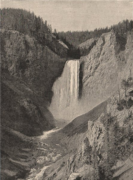 Associate Product The Great Fall, Yellowstone Valley. Wyoming 1885 old antique print picture