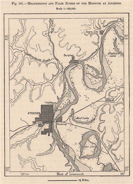 Associate Product Meanderings and false rivers of the Missouri at Atchison. Kansas 1885 old map